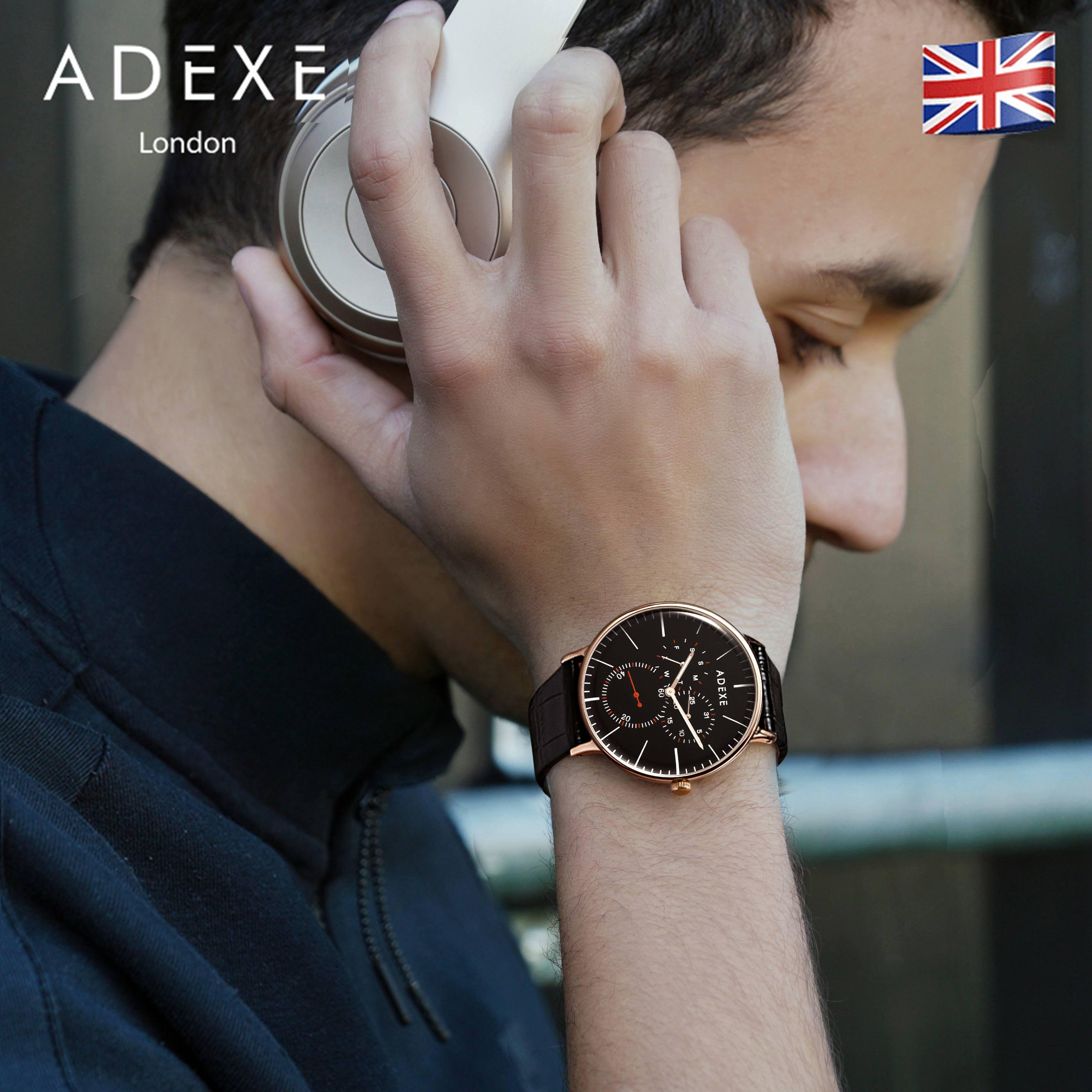 ADEXE男士手表正品时尚英国手表三眼防水多功能情侣手表男石英表