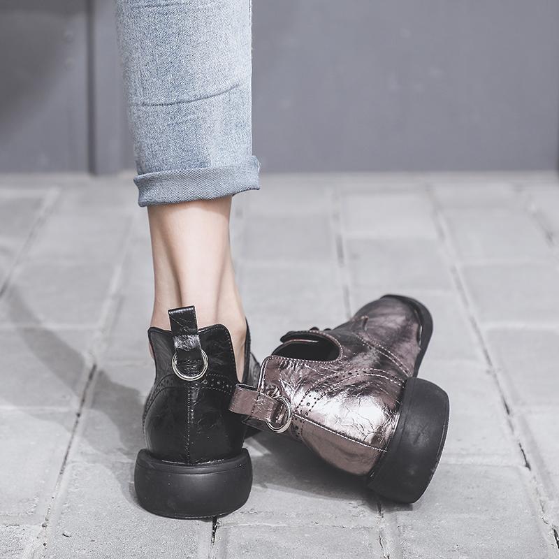 英伦风小皮鞋女2019春季新款百搭韩版网红布洛克单鞋粗跟浅口女鞋