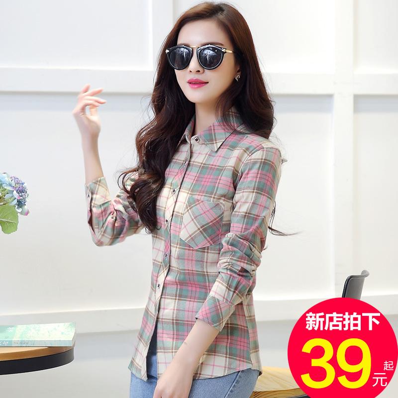 纯棉格子衬衫女长袖秋装新款韩版修身百搭磨毛大码衬衣上衣外套厚图片