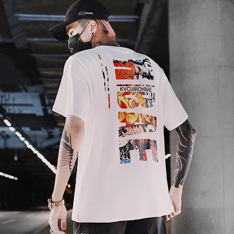 秋季2019新款t恤男韩版潮流学生短袖打底衫ins潮牌宽松体恤上衣服