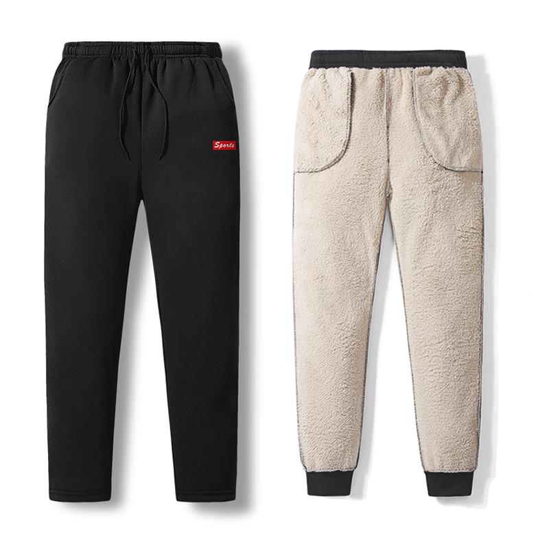 【羊羔绒】2019秋冬新款男士加绒加厚直筒长裤休闲运动保暖束脚裤