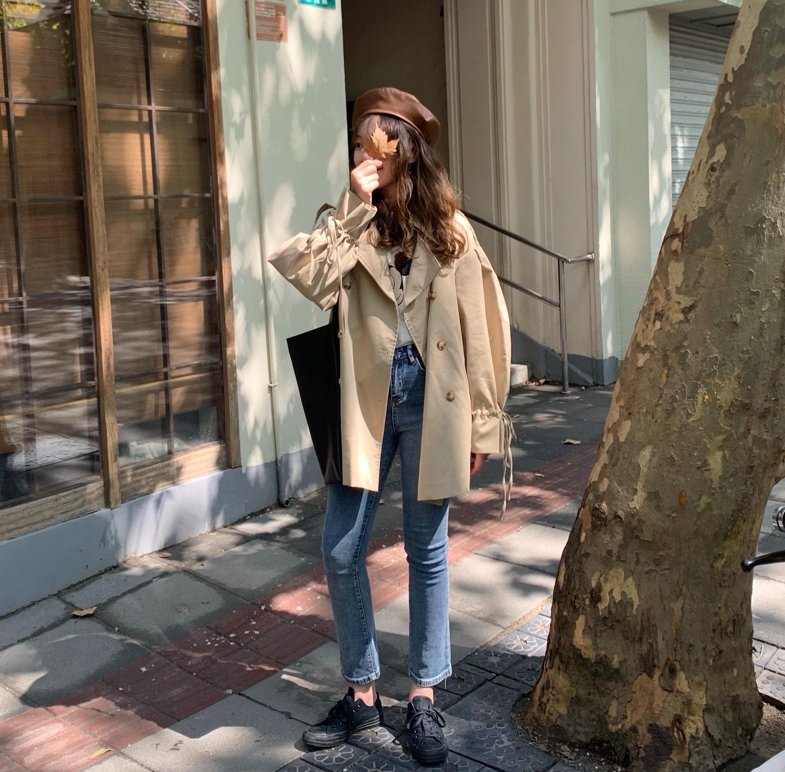 实拍实价 控5 秋季长袖风衣女中长款小个子2019新款韩版工装外套-胖虎家-