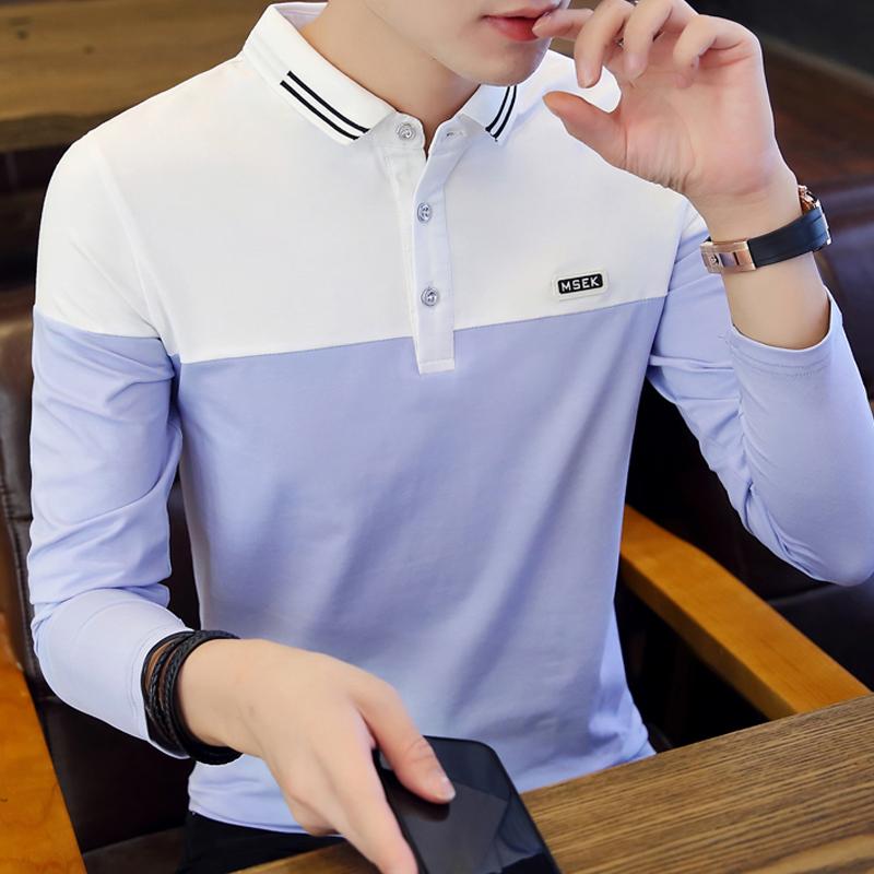 2019新款衬衫领t恤男长袖polo衫翻领体恤潮流有领纯棉秋衣打底衫图片