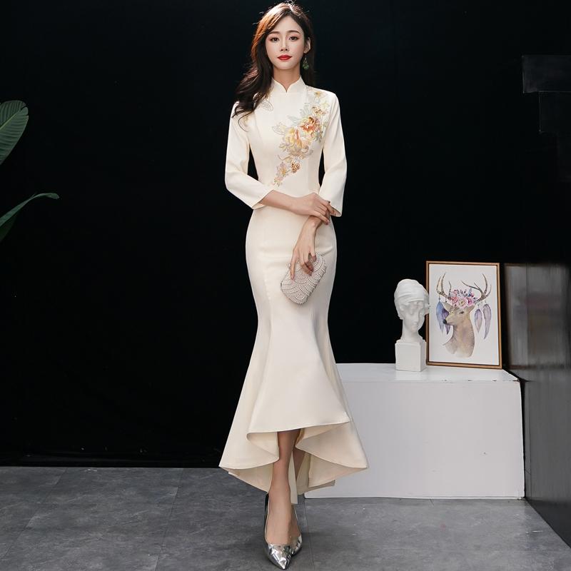 中式晚礼服2018冬季新款宴会年会改良旗袍裙长袖修身鱼尾连衣裙女