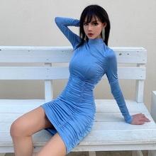 波西米亚jn1式高领气tj显瘦纯色连衣裙 高腰长袖包臀一步裙
