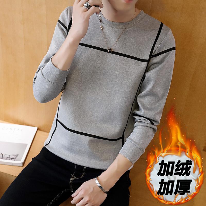 长袖T恤男士秋季加绒保暖修身潮流打底衫青年卫衣男装外套上衣服