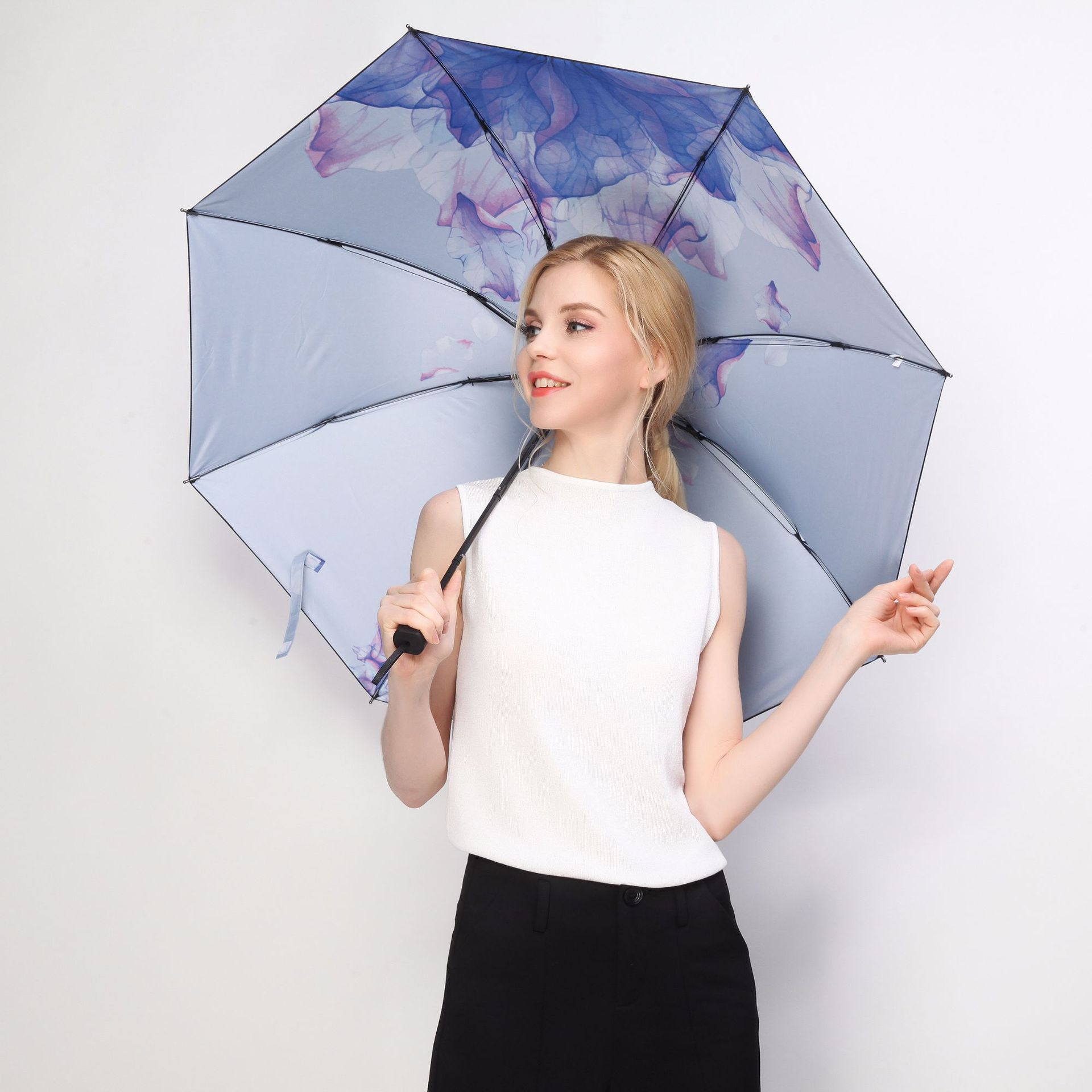 羚羊早安晴雨伞两用女黑胶防晒防紫外线三拆叠原创设计水墨画图案
