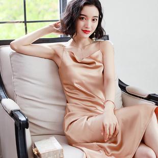 吊带睡裙女性感夏季薄款冰丝睡衣裙子长款丝绸缎面吊带连衣裙夏天