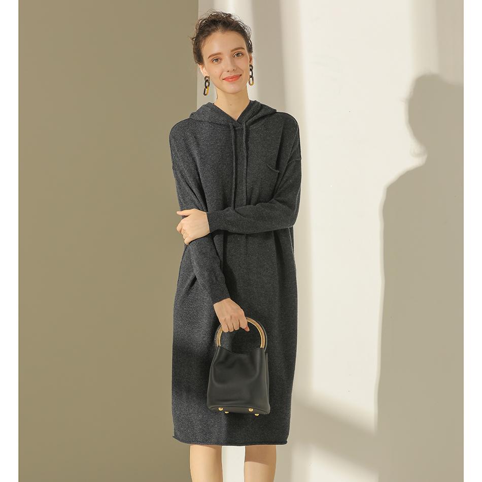 快乐家 舒适有型冬天内搭 羊毛连帽针织卫衣式连衣裙女3色