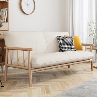 日式小户型客厅三人北欧原木沙发