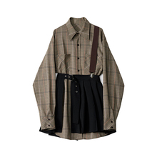 Designer Plus 春季套xp14女20qw尚背带衬衫百褶裙洋气两件套