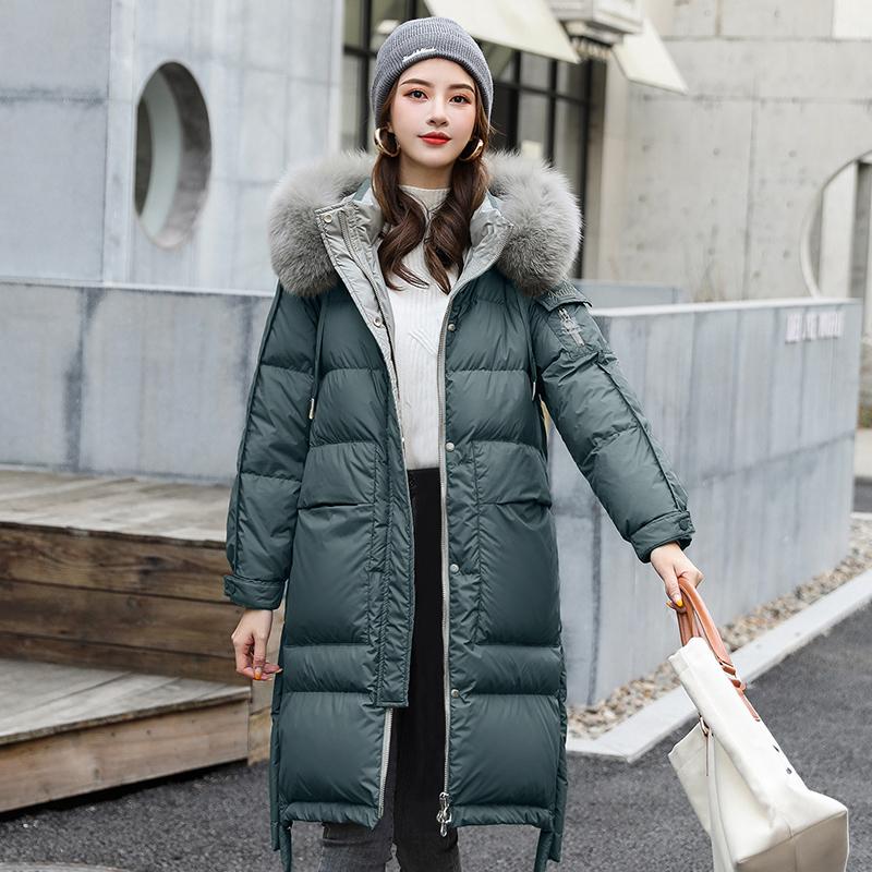 棉衣女中长款2019冬装新款韩版修身过膝大毛领宽松棉服女棉袄外套