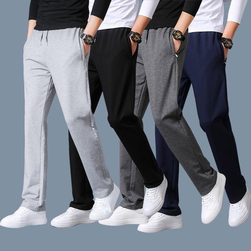 夏季薄款运动裤男休闲裤子纯棉宽松直筒长裤针织卫裤加大码跑步裤