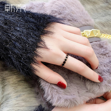 韩京(小)众设计zu3指女时尚an网红食指戒指环潮的钛钢装饰戒子