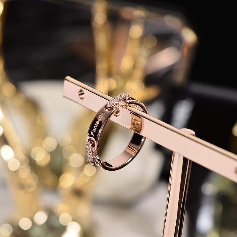 韩京钛钢镀玫瑰金色食指戒指女款韩版戒子指环潮人流行网红装饰品