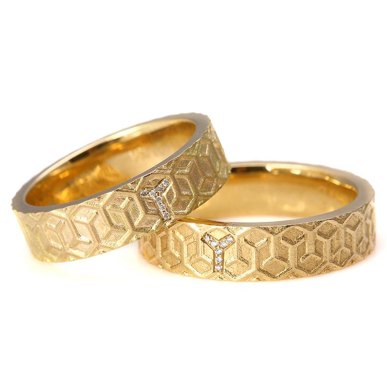 已结缘 私人订制精品18K钻石蜂巢对戒结婚戒指 独角兽的珠宝花园