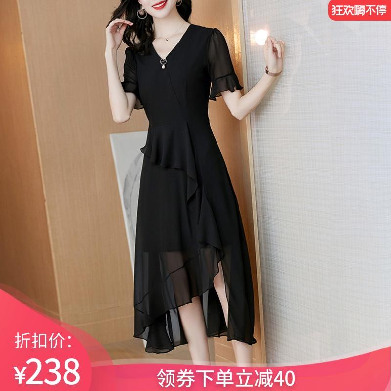 台湾纱雪纺连衣裙2020新款夏季气质女神范赫本风黑色小黑裙中长款