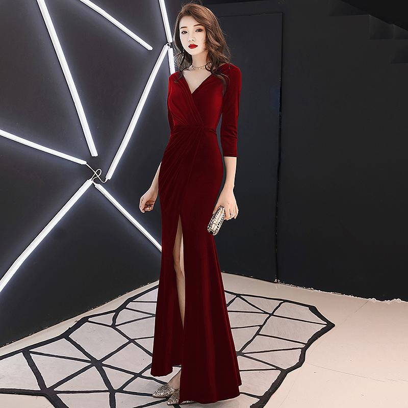 红色晚礼服裙女2019新款宴会高贵名媛长款高端鱼尾敬酒服平时可穿
