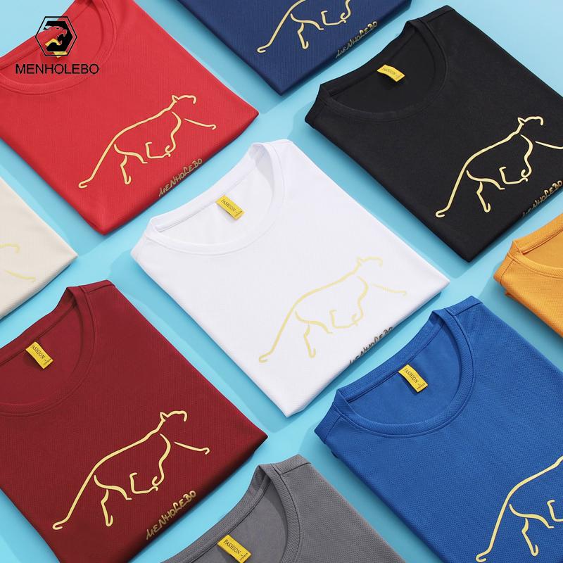 圆领短袖T恤男新款夏季冰丝透气速干体恤简约青年半袖潮流印花