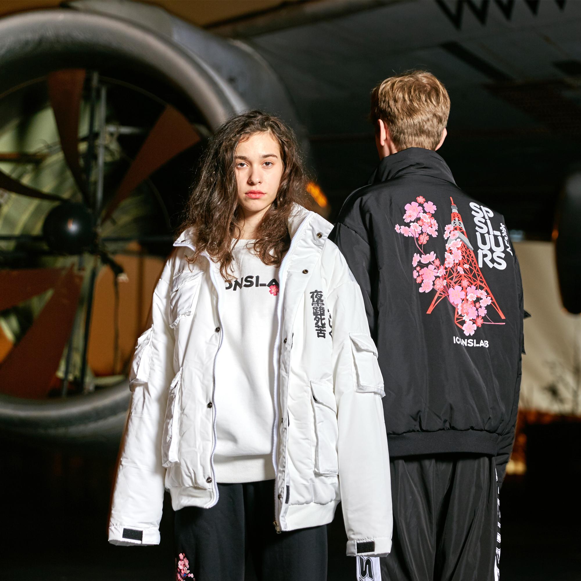 丝叔潮社 SSUR PLUS联名ICONSLAB东京塔口袋棉衣男女棉服潮牌外套