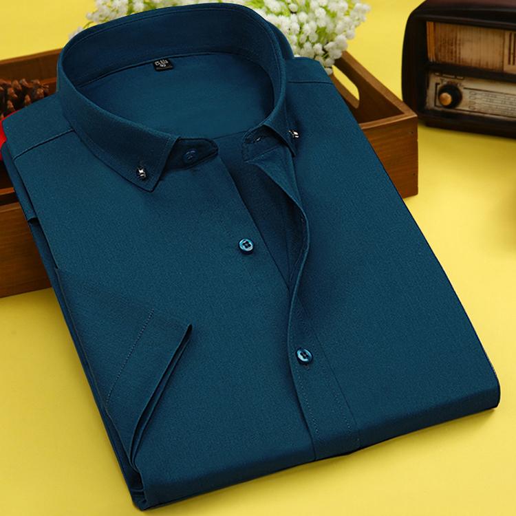 夏季衬衫男短袖竹纤维薄款修身型商务正装墨绿色免烫白衬衣工装