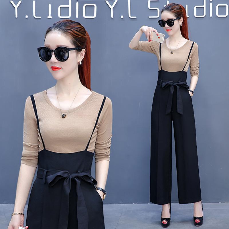 2017秋装新款韩范女装时尚气质吊带阔腿裤修身长袖T恤连体两件套