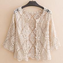 秋季薄款七分袖披肩外搭新ww9纯色蕾丝ou女装开衫镂空防晒衣