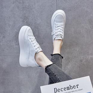 透气小白鞋女夏季秋季2020新款网红休闲松糕百搭板鞋厚底内增高鞋图片