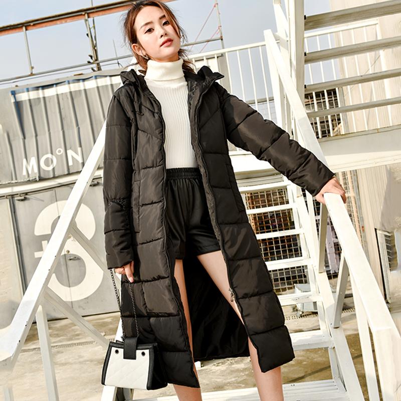 2018新款冬装 东大门过膝棉服女 韩版修身棉衣中长款加厚棉袄黑色