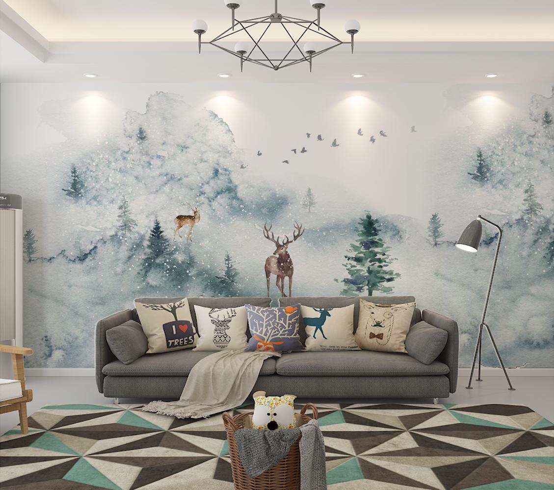 北欧风壁纸美式麋鹿墙纸客厅卧室电视背景墙定制壁画手绘无缝墙布_5折图片