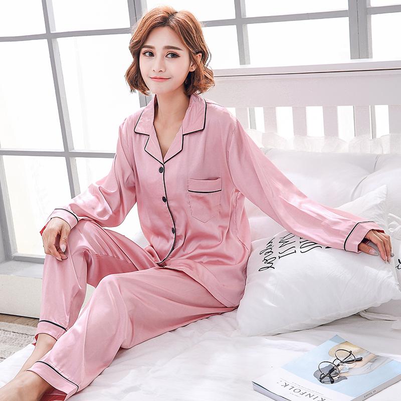 夏季性感睡衣女冰丝两件套装春秋薄款韩版女士长短袖家居服可外穿