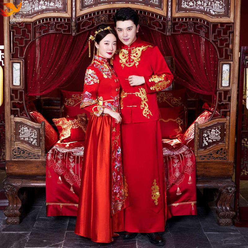 新郎秀禾服男装2020新款中式礼服结婚男女情侣套装唐装新娘服冬季