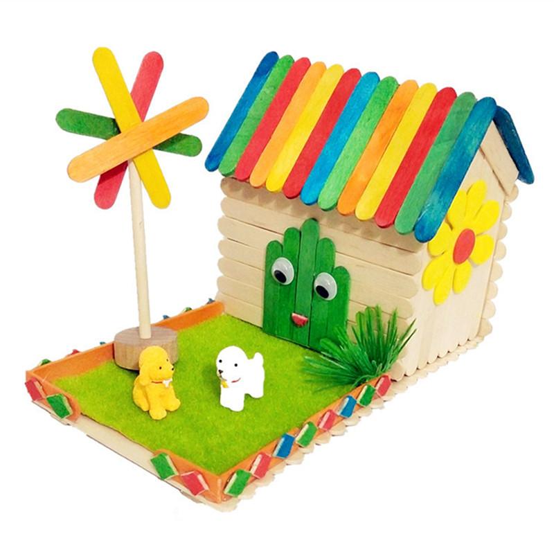 热销雪糕棒木棒儿童diy手工制作幼儿园益智模型小屋材料包包邮