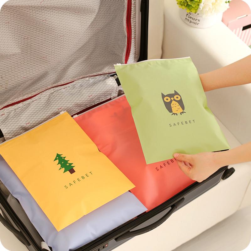 韩版旅行衣物整理自封收纳袋防水卡通图案杂物拉边袋大容量行李袋