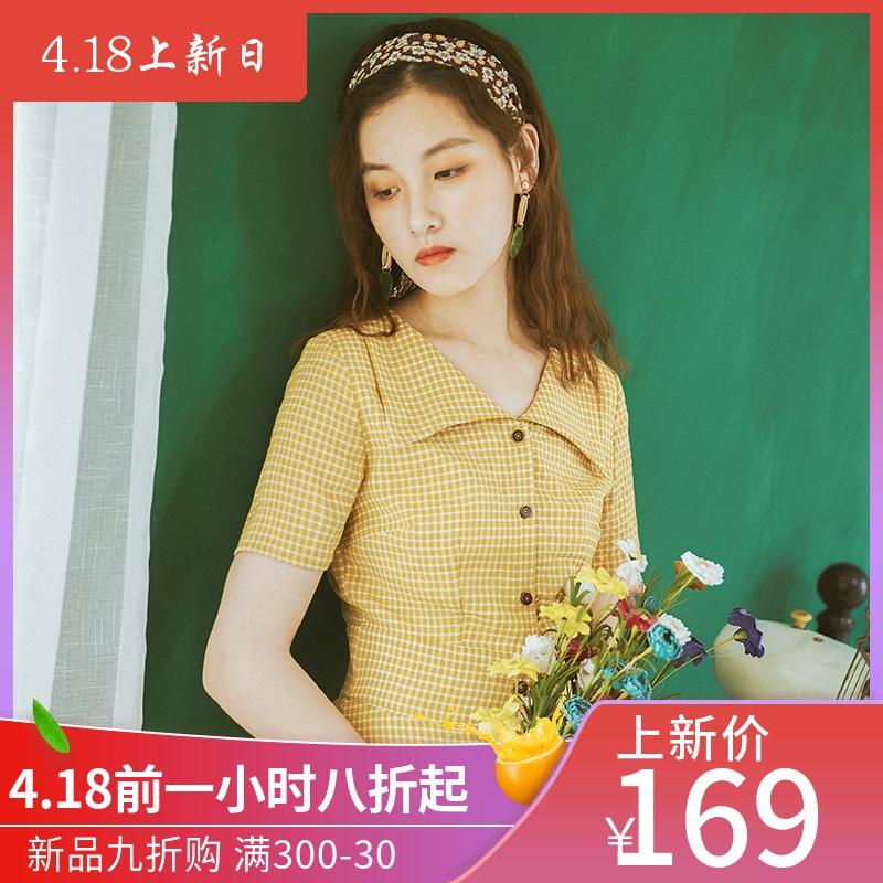 安妮陈原创设计2019夏季新款黄色女装连衣裙女小个子清新复古裙子
