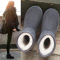 雪地靴女冬2019新款时尚棉靴短筒加绒保暖低帮面包鞋中筒雪地棉鞋