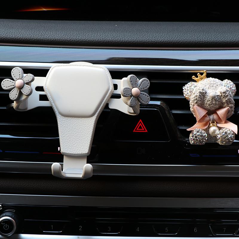 可爱车载手机支架汽车出风口用手机夹子导航架卡通车内车上支撑架