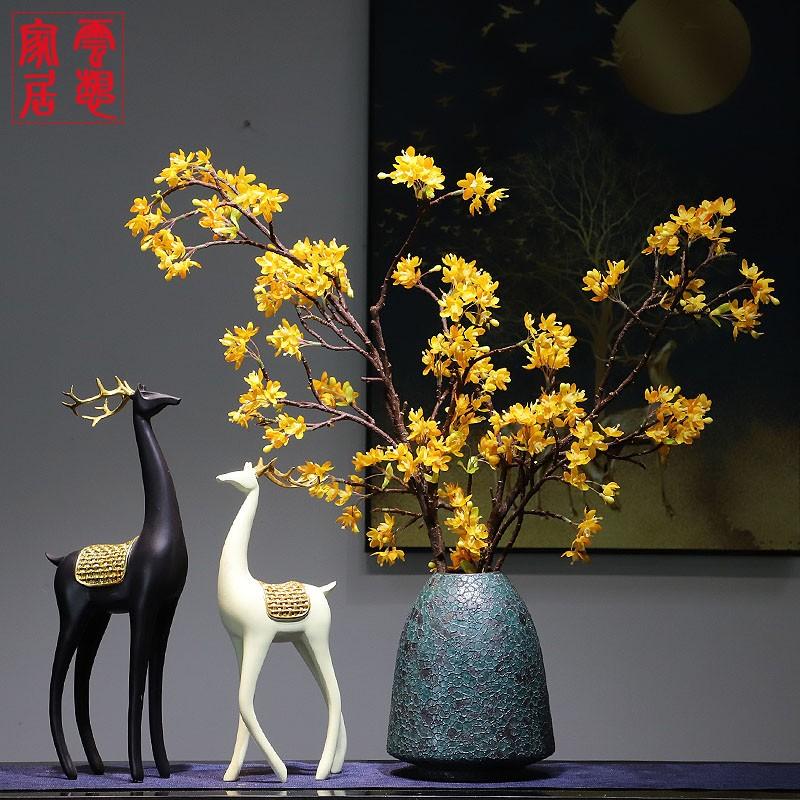 新中式景德镇陶瓷花瓶花瓶干花插花摆件禅意客厅书房会所玄关软装