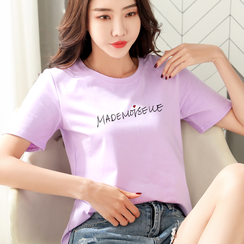 短袖女士2020夏装纯棉白色t恤女紫色字母宽松上衣半袖全棉体��衫