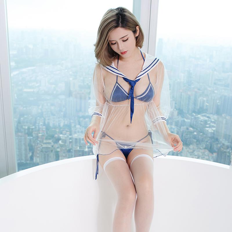 性感制服情趣内衣学生妹夜店激情套装可爱骚透视诱惑水手短裙成人