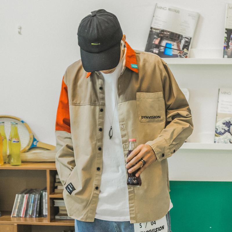 港风男士衬衫长袖宽松撞色百搭拼接衬衣韩版潮流学生休闲工装外套