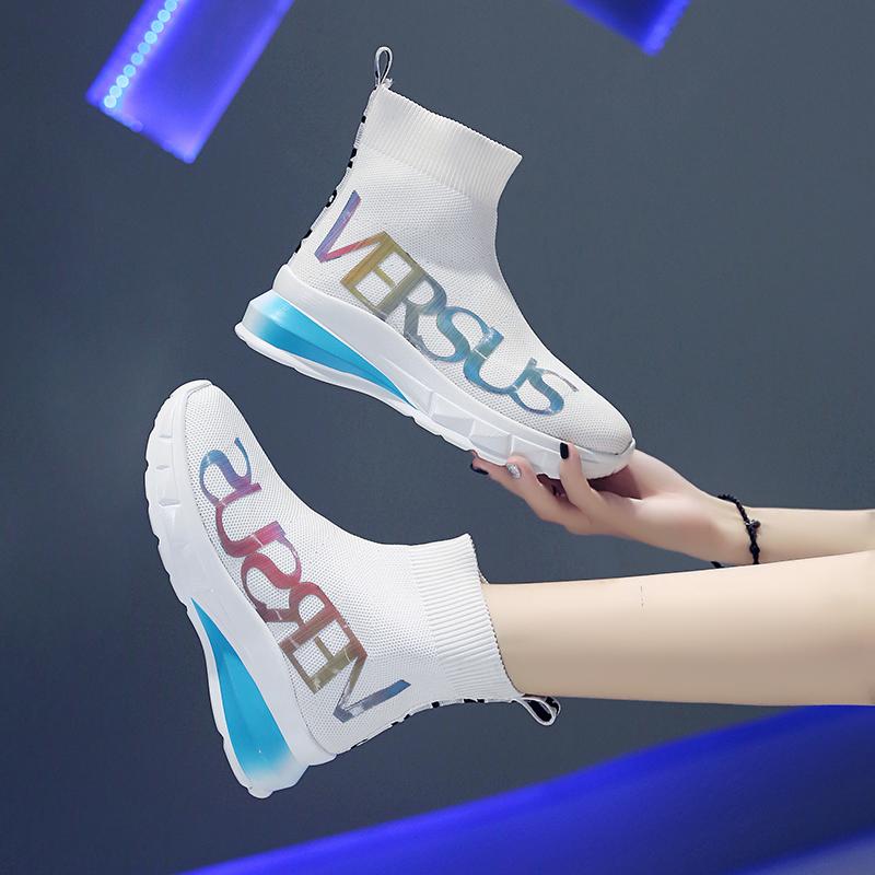 袜子鞋女2019网红女鞋秋季新款飞织潮鞋透气高帮弹力夏季运动短靴