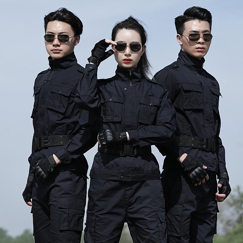 特种兵作服训黑色迷彩服套装男春秋夏耐磨保安战术作战服工作服女