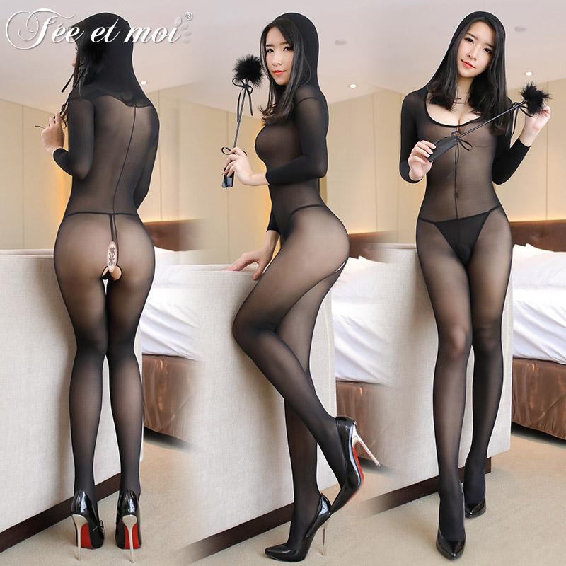 情趣内衣骚欧美火辣性感诱惑长袖开裆连体衣黑丝袜激情制服套装