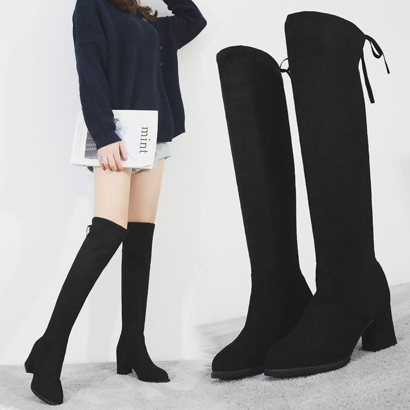 粗跟高跟女靴子2018秋冬新款绒面长筒靴女欧美时尚瘦瘦靴女百搭