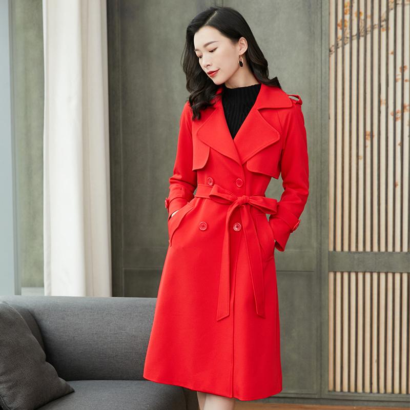 红色风衣女中长款秋装2020年新款韩版双排扣外套过膝大衣名媛女装