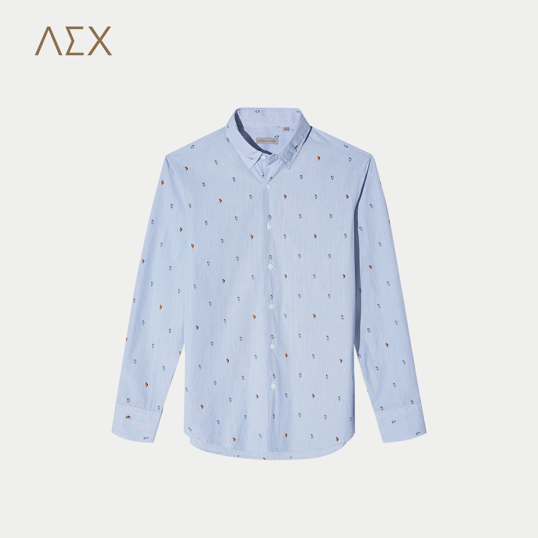 AEX男装2017秋冬新款浅蓝花纹长袖衬衫