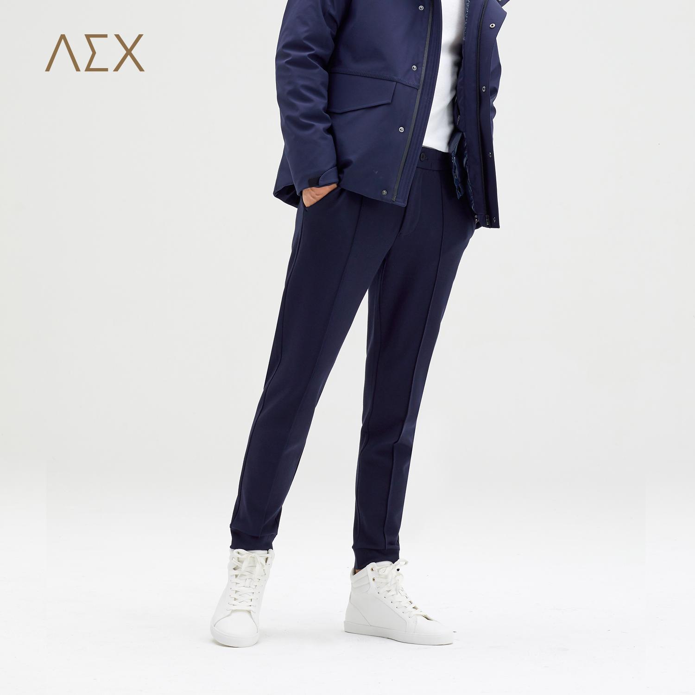 AEX男装2017秋冬新款针织混纺弹力休闲裤