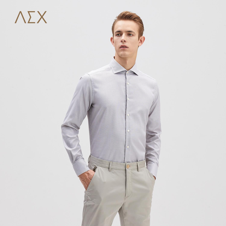 AEX男装2017秋冬新款商务简约长袖衬衫
