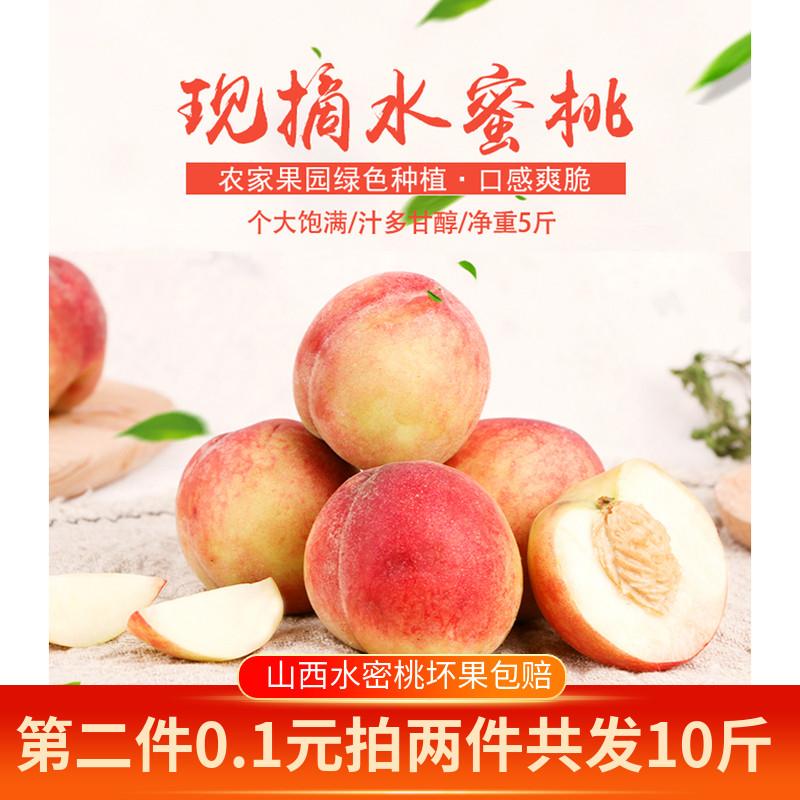 珑牛 水蜜桃子现货现摘当季新鲜水果脆桃子毛桃5斤包邮脆甜桃子